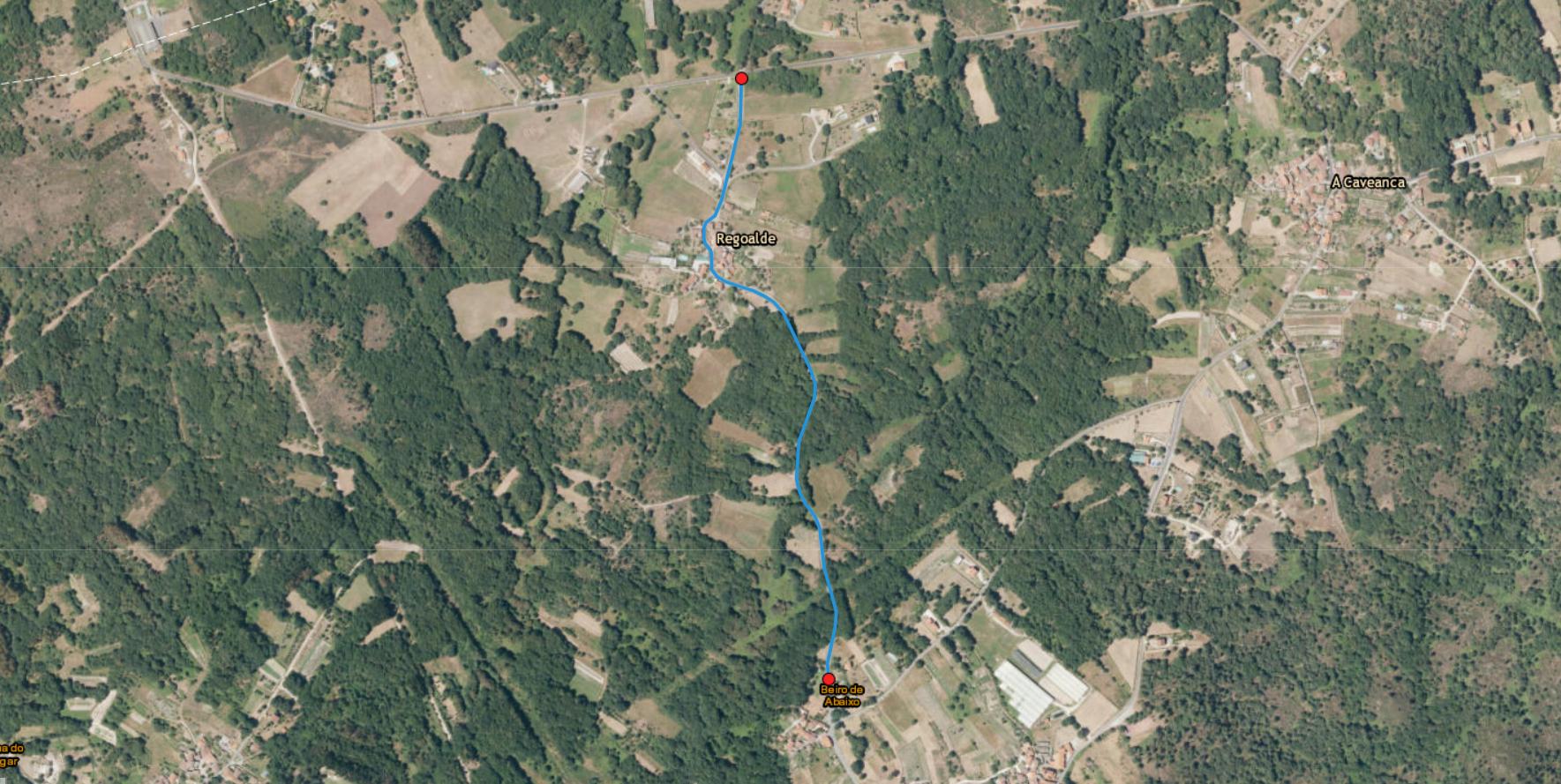 Mapa del tramo de Regoalde